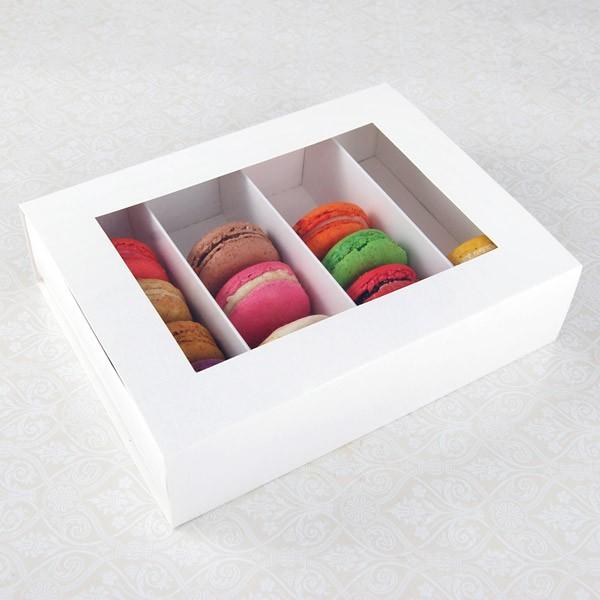 24 Macaron White Window Boxes ($3.50/pc x 25 units)