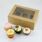 6 Cupcake Window Kraft Brown Box($2.00/pc x 25 units)